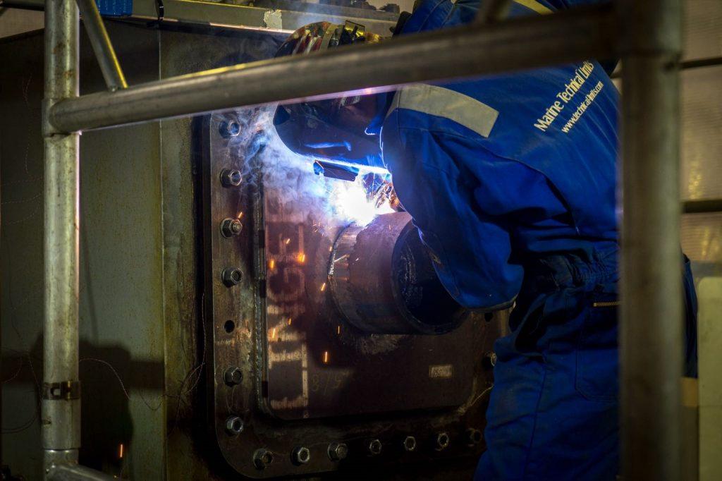 Water backed welding test
