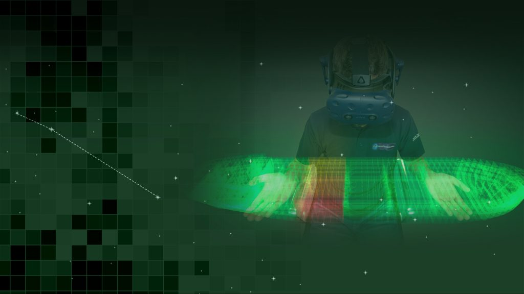 naval architect viewing holographic representation of asset integrity management system