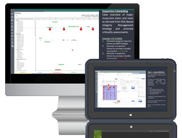 Asset work management desktop and tablet graphic image